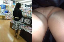 【画像】本屋で立ち読みに夢中になっていてパンチラ盗撮されているのにまったく気づかない女子たちwwwの画像