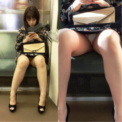 電車に乗る前に無音アプリ起動!スカート女子の対面を確保!パンチラ撮影成功!!の画像