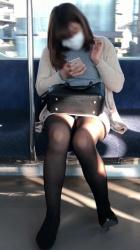 電車内でパンチラを無料で鑑賞できるとは朝から興奮の画像