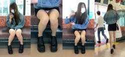 【電車パンチラ】向かいの席のお姉さんがパンツチラチラさせて感動しているんだがwの画像