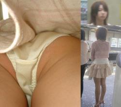 【逆さ撮りパンチラ】お姉さん今とってもHなパンツ穿いているんですねwの画像