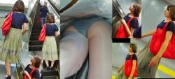 【逆さ撮り】ロングスカート・長めのスカートを履いてるのに超低空から撮影された逆さ撮りパンチラ画像の画像