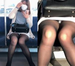 電車で座るならタイトスカートの目の前に限る事が分かるパンチラ画像の画像
