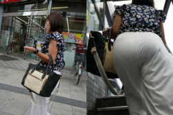 街中にいる女性のお尻を眺めてたら透けパンチラしてたから慌てて撮影したエロ画像の画像