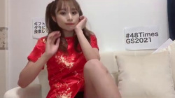 AKB48の左伴彩佳がチャイナ服で黒パンチラ見せる放送事故の画像
