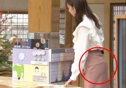杉浦みずきアナ(23)、スカート張り付きパンツ尻透け放送事故wwwwwの画像