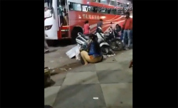 【路上盗撮動画】ケツ丸だしで地べたに座ってたぽっちゃり女性の画像