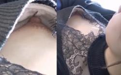 電車内でハーフ顔の可愛い女子大生の乳首を上から盗撮!完全見えの画像