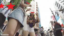【♡ren♡pantira!作品】私服JK2人組 デニムミニの生足からのピンク色パンツ【JKパンチラ盗撮】の画像