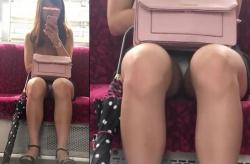 【電車対面パンチラ】アングルが最高な神パンチラ盗撮!お水!?キャバ嬢風の綺麗なお姉様のアソコを対面から隠し撮り。スカート内にテカテカのサテン系パンティがチラリ。Tバックなのかな…。【Pornhubエロ動画】の画像