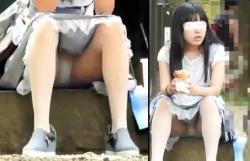 【公園パンチラ盗撮】大変!急げ!ロリッ子のパンツが見えてます!見た目はJ○orJK、超大股開きで地べたに座るもんだから…思いっきりパンツが見えちゃってます。正直、無防備過ぎる座り方w【Pornhubエロ動画】の画像