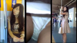 綺麗なミニワンピのお姉さんをエスカレータで純白生パンティを盗撮の画像