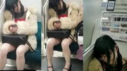 車内で股を開いて寝ている眼鏡の可愛らしい女の子をパンティを隠し撮りの画像
