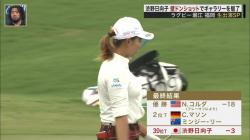 【スポーツエロ画像】女子ゴルフ選手の渋野日向子(21)の着衣巨乳とパンチラの放送事故wwwの画像