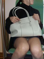 【電車パンチラ盗撮エロ画像】対面座席にいてるミニスカートを履いた女性のパンツを見るとシコりたくなるwwwの画像