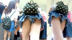 【upskirt702逆さ撮りキュロット】デニムキュロットからロリ系なPが丸見えの白く長い足がエロい美少女の画像