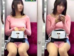 【電車対面】こういう隠してるつもりなのに丸見えのミニスカ女のパンチラってエロいよなww【山田さんの流出動画】の画像
