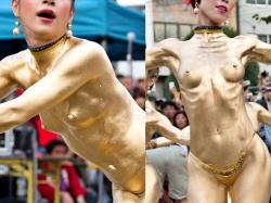 【動画】「金粉ショー」とかいうくっそエロい合法野外露出イベントがこちらwwwwの画像