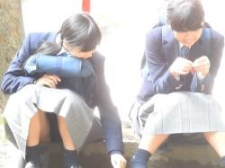 公園の石段に座ってる修学旅行中のあどけない制服JCちゃん、座りパンチラを盗撮されるの画像