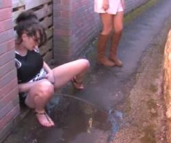 狭い道をおしっこの水たまりで塞いじゃうほどの大量放尿の画像
