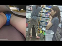 【逆さ撮り盗撮動画】スリットの入ったロングスカートの30代の女性をレンタルビデオ店でフラッシュを焚いて逆さ撮り!の画像