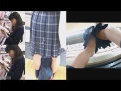 【痴漢盗撮動画】ザーメンでJKのスカートを器物損壊!ブックオフで立ち読みしていた清楚な女子校生を生おかずにする!の画像