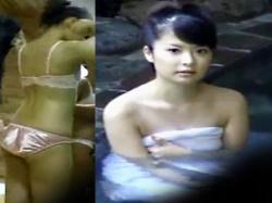 【混浴露天風呂盗撮動画】関西方面からの旅行客…男女が一緒に入る温泉にバスタオル1枚体に巻いて入浴する若い女子を隠し撮りwwの画像
