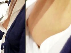 【胸チラ盗撮動画】ノーブラで接客!?乳首がチラチラ見える外国人店員を真横から乳首を隠し撮りwwの画像