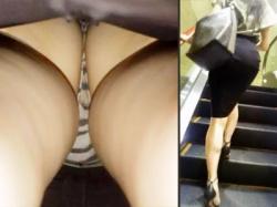 【OL逆さ撮り盗撮動画】街中で必ず遭遇する『後ろ姿がエロい女』が穿くパンティは後ろ姿以上のエロ下着を接写撮りwwの画像