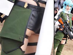 【えなこC97コスプレ盗撮動画】ソードアートオンラインⅡに登場するキャラ『シノン』コスでぷにぷにハミ尻を隠し撮りwwの画像