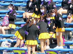 【女子大生チアガール盗撮動画】試合前の準備をする立教大学のミニスカやホットパンツのチアガールを隠し撮りwwの画像