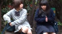 【JK野ション盗撮動画】公園のベンチで談笑する女子校生たちが悪ノリでオシッコの距離を競い合うwwwの画像