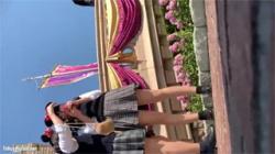 【夢の国パンチラ盗撮動画】ねずみカチューシャを付けたJKちゃんのパンスト越しパンツを逆さ撮り!の画像