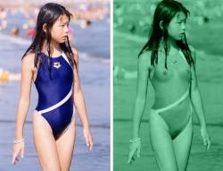 赤外線カメラで水着を丸裸にされた女子のマン毛がヤバいエロ画像の画像
