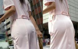 お買い物ナースの白衣が透けてパンツ見えている後ろ姿エロ画像の画像