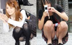 カメラ女子が撮影中に逆盗撮されてパンツ丸見え街撮り画像の画像