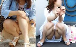 スカート女子しゃがみパンチラ画像!おしっこ座りがエロすぎの画像