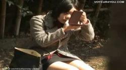 【パンチラ】公園のベンチに座ってる下半身がゆるい女子大生のパンツをこっそり隠し撮りするの画像