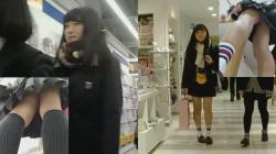 【パンチラ盗撮】雑貨屋さんや本屋さんで見つけた素人JK達のパンティを逆さ撮り靴下撮りもの画像