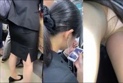 【パンチラ盗撮】清楚系リクルートスーツタイトなスカートの中はパンスト越しムレムレパンティ盗撮の画像