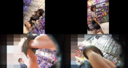 【パンチラ盗撮】商品選びに夢中な超若そうな2人しゃがみや逆さ撮りのパンチラ盗撮の餌食に・・・・の画像