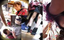 【パンチラ盗撮】ショートカットの店員さんのパンティも気になりますが靴の方が臭そうで大興奮の画像