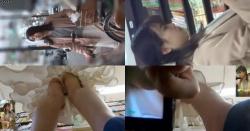 【パンチラ盗撮】清楚な感じのJDちゃんかな?追跡されちゃって本屋さんにてとうとう逆さ撮りの餌食にの画像