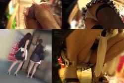 【パンチラ盗撮】追跡する撮り師が厳選二組のエッチな素人嬢パンチラ逆さ撮り盗撮パンストがエッチ過ぎるの画像