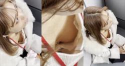 【胸チラHD盗撮】元同僚による上からの豊満なボディちょいケバお姉さんの胸チラ盗撮の画像