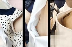 のぞき込み盗撮【電車内】~「乳首」チラ見え女子~(左)JK(中央)高学年JS(右)JD#8230;の「オッパイ」っ!!の画像
