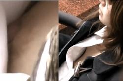 《高画質》盗撮【乳首チラ】~待ち合わせの「JD」の「浮きブラ」を隠し撮り~「オッパイ」&「乳首」をズーム撮影~!!の画像