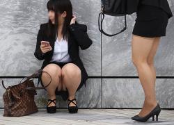 タイトスカートやパンツスーツのヒップラインが抜ける街撮りOL画像の画像