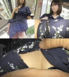 【痴漢動画】胸元がはち切れそうな巨乳ワンピお姉さん*ボタン外してナマ乳揉み*ピンク美マンくぱぁ*指マンでデカ尻ひくつき【高画質】の画像