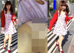 パンチラ盗撮 4K bomb255 さくらんぼ柄のフレアミニワンピのJDちゃんの画像
